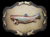 NICE VINTAGE 1970s *MOUNTED SPECKLED TROUT* BELT BUCKLE