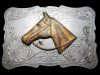 JK29127 VINTAGE 1970s CHAMBERS **HORSE'S HEAD** NICKEL SILVER BELT BUCKLE