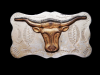 JL01117 VINTAGE 1970s CHAMBERS **CATTLE HEAD** NICKEL SILVER WESTERN BELT BUCKLE