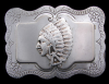 *AMERICAN INDIAN CHIEF HEAD* DECORATIVE FLOWER BUCKLE