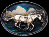 JL15102 VERY COOL VINTAGE 1980 COLORFUL **WILD HORSE** LACQUERED BRASS BUCKLE