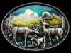 JL15103 REALLY NICE VINTAGE 1980 **FAMILY OF DEER** LACQUERED BRASSTONE BUCKLE