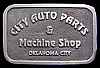 JI04126 1980s **CITY AUTO PARTS & MACHINE SHOP** OKLA CITY PEWTER BELT BUCKLE