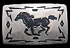 JK12120 GREAT 1970s CHAMBERS WESTERN STYLE **RUNNING HORSE** SILVERTONE BUCKLE