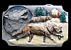 JK06131 REALLY COOL 1991 **WOLVES IN SNOW SCENE** PEWTER BELT BUCKLE
