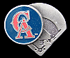 JK14172 GREAT 1994 **CALIFORNIA ANGELS** MLB BASEBALL ENAMELLED PEWTER BUCKLE