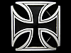 JL05113 *NOS* COOL LARGE CUT-OUT **IRON CROSS W/ BLACK FILL** PEWTER BELT BUCKLE