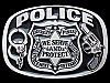 KC19138 VINTAGE 1988 **POLICE - WE SERVE AND PROTECT** PISTOL & HANDCUFFS BUCKLE