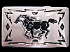 KC21109 GREAT VINTAGE 1970s CHAMBERS **GALLOPING HORSE** SILVERTONE BELT BUCKLE