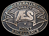 KC21155 VINTAGE 1996 ****AES - SHADY POINT**** SOLID BRASS BELT BUCKLE