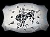 KD13112 VINTAGE 1970s CHAMBERS **RODEO COWBOY** SILVER & BLACK WESTERN BUCKLE