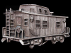 KD29148 COOL VINTAGE 1979 CUT-OUT **TRAIN CABOOSE** RAILROAD PEWTER BELT BUCKLE