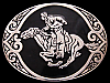 JH19125 VINTAGE 1980s AWARD DESIGN **PONY EXPRESS RIDER** SILVER & BLACK BUCKLE