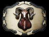REALLY NICE VINTAGE 1970s 3D BIG HORN SHEEP BELT BUCKLE