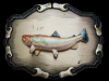 REALLY NICE VINTAGE 1978 3D SPECKLED TROUT BELT BUCKLE