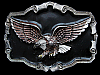 JK29105 VINTAGE 1997 **FLYING AMERICAN BALD EAGLE** ENAMELLED PEWTER BELT BUCKLE