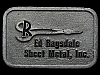 HL03150 VINTAGE 1970s ***ED RAGSDALE SHEET METAL INC*** PEWTER BUCKLE