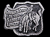 KC29102 VINTAGE 1980 **COWBOYS STAY IN THE SADDLE LONGER** PEWTER BELT BUCKLE