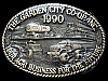 JL07164 *NOS* VINTAGE 1990 **GARDEN CITY KANSAS CO-OP** SOLID BRASS BELT BUCKLE