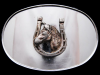 NICE VINTAGE 1970s HORSE & HORSESHOE OVAL SILVER BUCKLE