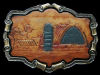 KF19119 VINTAGE 1980 ***BARN & SILO*** WESTERN STYLE LEATHER BELT BUCKLE