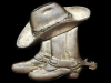 KC13110 VINTAGE 1970s **COWBOY HAT & BOOTS w/SPURS** SOLID BRASS BELT BUCKLE