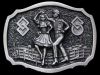 JL27108 VINTAGE 1984 ***SQUARE DANCING*** WESTERN STYLE PEWTER BELT BUCKLE
