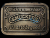 JL17148 VINTAGE 1970s ***WITH A NAME LIKE SMUCKERS...*** JELLY BELT BUCKLE