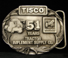 HG14132 VINTAGE 1988 ***TRACTOR IMPLEMENT SUPPLY*** PEWTER BUCKLE