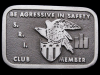 IH07151 VINTAGE 1970s **S.R.I. BE AGGRESSIVE IN SAFETY** BUCKLE