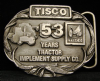 HG14133 VINTAGE 1988 ***TRACTOR IMPLEMENT SUPPLY*** 53 PEWTER BUCKLE