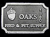 IC23156 VINTAGE 1980 ***OAKS FEED & PET SUPPLY*** PEWTER BUCKLE