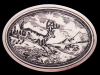 VINTAGE 1970s **DEER ILLUSTRATION ON SCRIMSHAW** BUCKLE