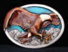 HH07108 VINTAGE 1984 ***BALD EAGLE*** LACQUERED PEWTER BUCKLE