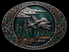 HL27108 VINTAGE 1982 ***DUCKS FLYING OVER POND*** OVAL PEWTER BUCKLE