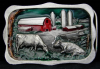 HH01112 VINTAGE 1983 ***ON THE FARM*** COW BARN SILO PEWTER BUCKLE