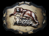 VINTAGE 1970s 3D **MOUNTAIN LION ON CLIFF** BELT BUCKLE
