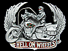 KF07130 *NOS* VINTAGE 1991 **HELL ON WHEELS** (MOTORCYCLE) PEWTER BELT BUCKLE