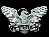 KF07129 *NOS* VINTAGE 1991 **BAD TO THE BONE** EAGLE & SKULLS PEWTER BELT BUCKLE