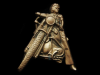 KE31123 VINTAGE 1970s CUT-OUT ***MOTORCYCLE RIDER*** SOLID BRASS BUCKLE