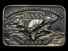 KC13129 VINTAGE 1988 ***BASS ANGLERS SPORTSMAN SOCIETY*** BRASSTONE BELT BUCKLE
