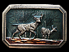 KF25114 VINTAGE 1976 **BUCK & DOE DEER IN FOREST** LACQUERED BRASSTONE BUCKLE