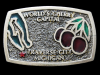 KC15121 GREAT 1982 ***WORLD'S CHERRY CAPITAL - TRAVERSE CITY MICHIGAN*** BUCKLE