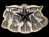 KD01121 COOL VINTAGE 1980 ***TEXAS*** THE LONE STAR STATE BRASSTONE BELT BUCKLE