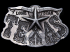 KD25126 VINTAGE 1980 **TEXAS** LONE STAR STATE PEWTER SOUVENIR BELT BUCKLE