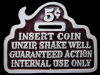 JK29167 VINTAGE 1979 **INSERT COIN, UNZIP, SHAKE WELL** FUNNY PEWTER BELT BUCKLE
