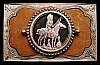 JJ06192 VINTAGE 1970s ***HORSEBACK INDIAN CHIEF*** CUT-OUT COIN BUCKLE