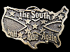 KE25131 VINTAGE 1981 **THE SOUTH WILL RISE AGAIN** CUT-OUT USA MAP BELT BUCKLE