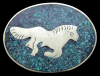 JJ04117 VINTAGE 1970s ***GALLOPING HORSE*** ARTWORK SILVERTONE BUCKLE
