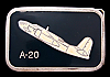JF02111 VINTAGE 1970s BUCKLE **DOUGLAS A-20 HAVOC ** WWII AIRPLANE PEWTER BUCKLE